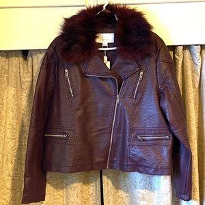 Lost Ink Faux Moto Bomber Jacket Faux Fur Collar